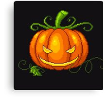Pixel Jack O Lantern Canvas Print