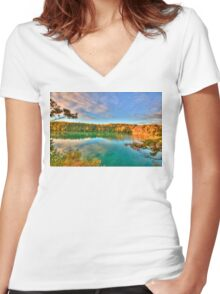 Pink Lake Reflections Women's Fitted V-Neck T-Shirt