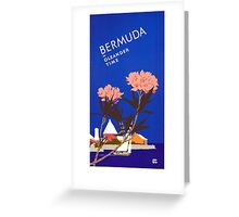 Colorful Blue Bermuda in Oleander Time Travel Greeting Card