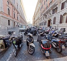 Motorbikes on the strees of Rome by derejeb