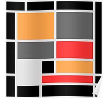 Mondrian style design orange red black gray Poster
