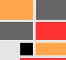 Mondrian style design orange red black gray by aapshop