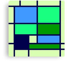Mondrian style design blue green Canvas Print