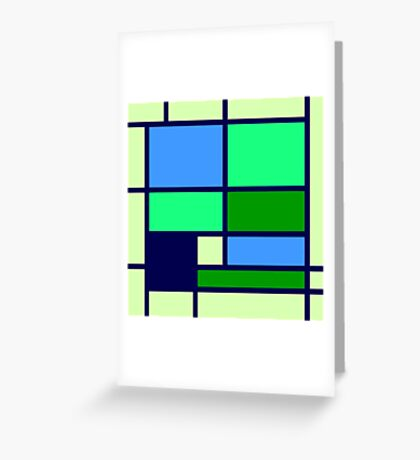 Mondrian style design blue green Greeting Card