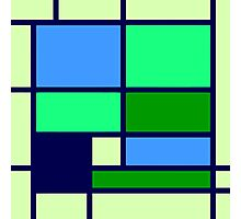 Mondrian style design blue green Photographic Print