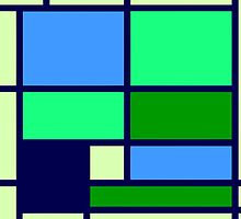 Mondrian style design blue green by aapshop