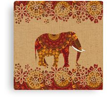 Beautiful Patterned Indian Elephant Rustic Rich Colors Canvas Print
