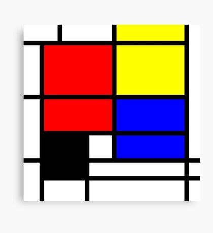 Mondrian style design in basic colors Canvas Print