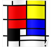 Mondrian style design in basic colors Poster