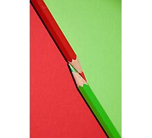 Red and Green Diagonal Colored Pencils Photographic Print