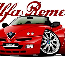 Alfa Romeo 916 Spider caricature red by car2oonz