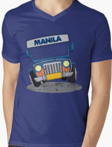 Philippine Jeepney cartoon prints Mens V-Neck T-Shirt
