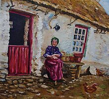 """Taking the Air, Elderly Lady at her Smallholding, Glens of Antrim."" Painted from a photograph dated 1906. by Laura Butler"