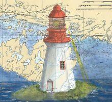 Lonely Island Lighthouse Ontario Map Cathy Peek by Cathy Peek