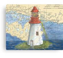 Lonely Island Lighthouse Ontario Map Cathy Peek Canvas Print