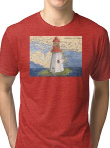 Lonely Island Lighthouse Ontario Map Cathy Peek Tri-blend T-Shirt