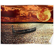 Adrift in the Sunset Under the Moon Poster