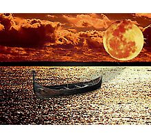 Adrift in the Sunset Under the Moon Photographic Print