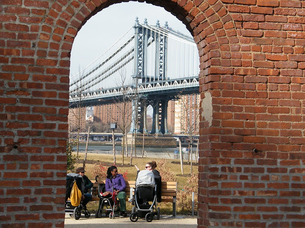 View of Manhattan Bridge from Brooklyn Bridge Park, New York by lenspiro