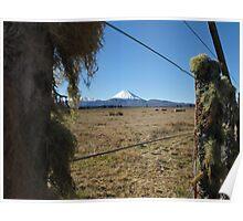 mountain scene through wire fences Poster