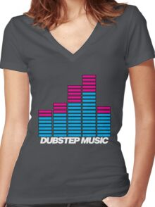 Equalizer Dubstep Music (dark) Women's Fitted V-Neck T-Shirt