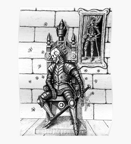 End of the King surreal black and white pen ink drawing Poster