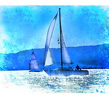 Sailing in the Sparkle of Blue Photographic Print