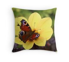 Peacock Butterfly On Dahlia Throw Pillow