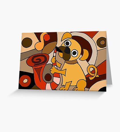 Cool Pug Playing the Saxophone Modern Art Greeting Card