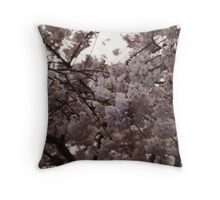 Off-White Cherry Blossoms Throw Pillow