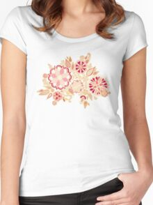 Golden Embroidery Flowers Women's Fitted Scoop T-Shirt