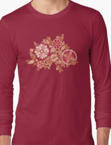 Golden Embroidery Flowers Long Sleeve T-Shirt
