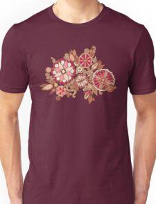 Golden Embroidery Flowers Unisex T-Shirt