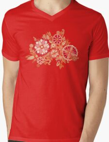 Golden Embroidery Flowers Mens V-Neck T-Shirt