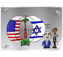 Venn Diagram Cartoon of The US Israel and Iran Poster