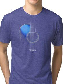 Blue Acoustic Guitar Hi-Lite Tri-blend T-Shirt