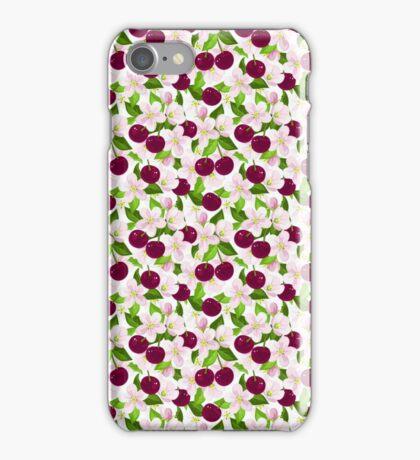 Vintage red pink cherries floral pattern iPhone Case/Skin