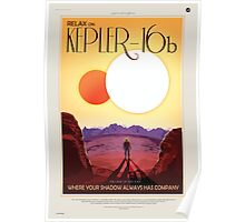 Binary Star System Astronaut on Exoplanet Kepler 16b Poster