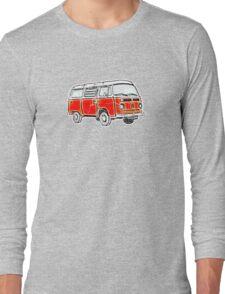 Bay Window Campervan Orange Worn Well Long Sleeve T-Shirt