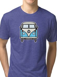 Blue White Campervan (slightly cubist) Tri-blend T-Shirt