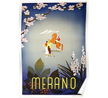 Vintage Horse and Golfers Merano Italy Travel Poster