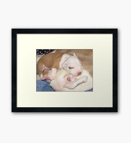 Mom's My Favorite Pillow Framed Print