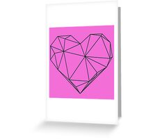 Geometric Heart Pink Background Greeting Card