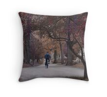 Cemetery Lasdscape With Bicycle Rider Throw Pillow