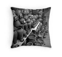 Roadside Pottery Stall  Throw Pillow