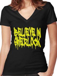 Believe in Sherlock Women's Fitted V-Neck T-Shirt