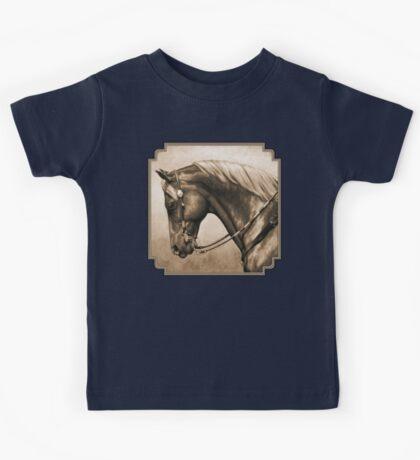 Western Pleasure Quarter Horse in Sepia Kids Tee