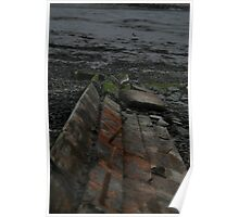 Old Wooden Washed Up Beach Boat Poster