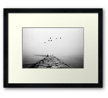 Foggy Jetty Framed Print