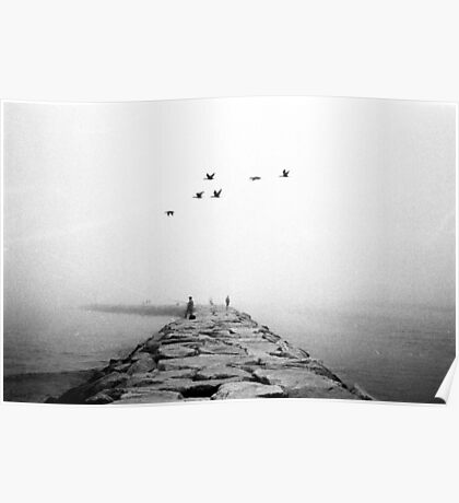 Foggy Jetty Poster